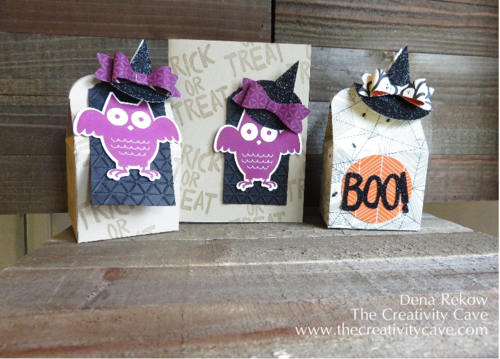 Treat Boxes and Card using Stampin Up Punches and Black Glimmer Paper
