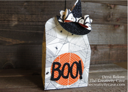 Baker's Box Thinlit used to create adorable treat with a witches hat clip using Stampin Up Punches and Black Glimmer Paper