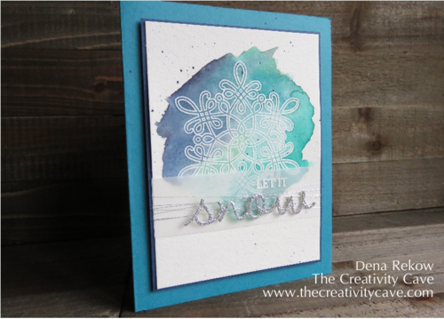Stampin Up's Flurry of Wishes Embossed with watercolor wash