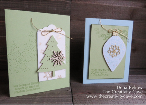 Stampin Up's Peaceful Pines and Embellished Ornaments with Winter Wonderland Vellum and a touch of Gold Glimmer make for a gorgeous Christmas Card!