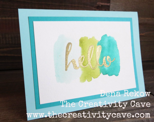 Friday Quickie Techniques and Tips Video Tutorial: Wet Wash Watercolor Background using Stampin Up's Hello Sale-a-bration Stamp set and ink pads with aquapainters.  Video on blog.
