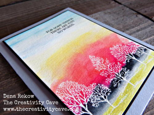 Watercolor Sky Background using Stampin Up's Lovely As A Tree with a video tutorial on my blog is easier than you think!
