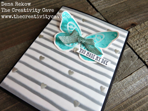 Shimmery Butterfly Card made with Stampin Up's Watercolor Wings stamp set and Faux Resist Technique!  Check out my blog for a video tutorial and all the supplies used!