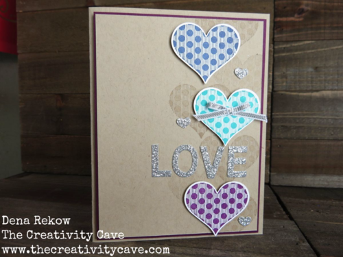 Adorable card using Stampin Up's Groovy Love Stamp Set and Coordinating Sweetheart Punch with some Silver Glimmer Love!