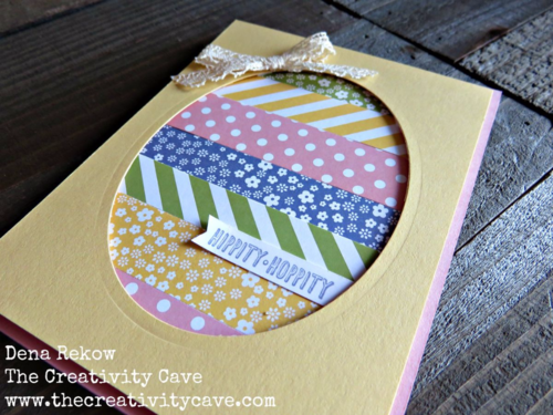 How to make a Striped Easter egg!  Video tutorial on my blog along with all the supplies and more photos using Stampin Up's Printed PAper stacks!