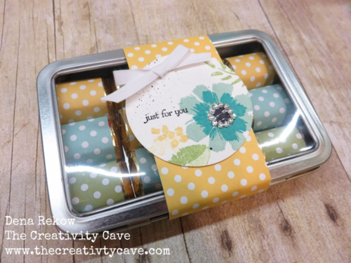 Super cute Hersey's Nugget Tin! Check out the matching card on my blog using Stampin Up's Paper Pumpkin Kit!
