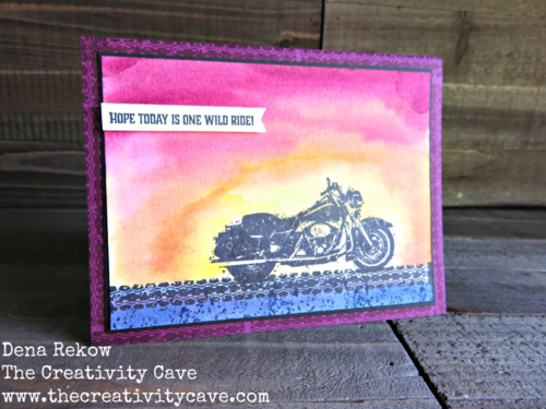 Video on how to make this easy motorcycle sunset card on my blog using Stampin Up's New One Wild Ride Stamp Set