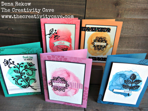 Beautiful New In Colors from Stampin Up including Dapper Denim, Emerald Envy, Sweet Sugar Plum, Flirty Flamingo, and Peekaboo Peach combined with Flourishing Phrases Stamp set and coordinating framelits make adorable cards! Check out the details on my blog, www.thecreativitycave.com #stampinup #thecreativitycave #watercolor #handmade
