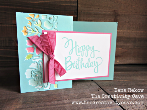 Fun Video on my blog showing how easy this card is to create with a fun fold and Stampin Up's Summer Sorbet and Layered Letters Stamp Sets: www.thecreativitycave.com #stampinup #zfold #thecreativitycave #detailfloralframelits #handmade