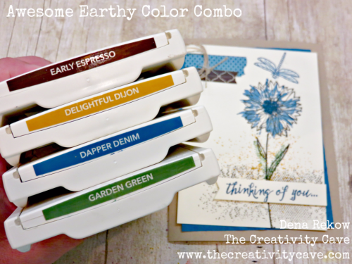 Great Color Combo (check out the awesome video on my blog for this beautiful card) at www.thecreativitycave.com I also show you what to do when you smudge your card at the very end! :) #stampinup #thecreativitycave #colorcombo