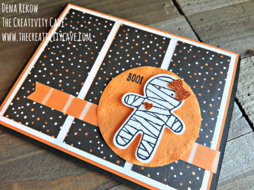 Check out the fun video of this adorable card using Stampin Up's Cookie Cutter Halloween Stamp set and Cookie Cutter Builder Punch on my blog at www.thecreativitycave.com #stampinup #thecreativitycave #halloween #handmade #sweet