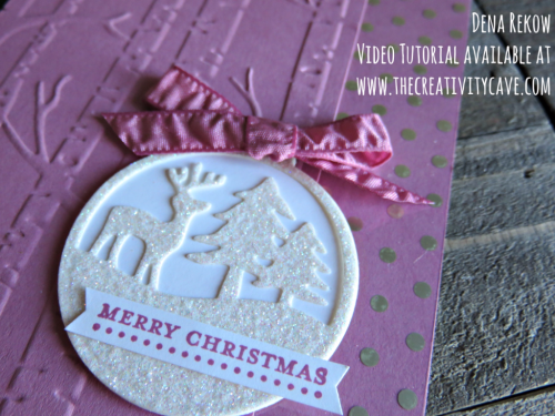 Awesome Video Tutorial on my blog to make this beautiful Christmas Card using Stampin Up's Merry Tags Framelits and Teeny Tiny Wishes Stamp Set!  #stampinup #thecreativitycave #christmascards