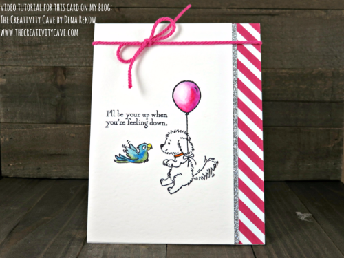 Check out the video tutorial for this adorable card using Stampin Up's new Watercolor Pencils and Bella and Friends Stamp Set at www.thecreativitycave.com #stampinup #thecreativitycave #bellaandfriends #watercolorpencils