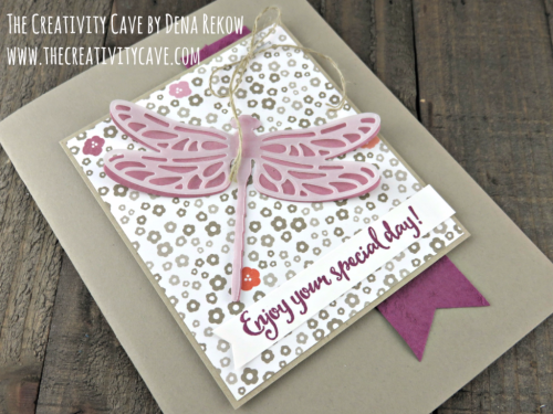 Check out the video tutorial for this card plus more ideas on my blog: www.thecreativitycave.com using Stampin Up's Dragonfly Dreams Stamp Set #stampinup #thecreativitycave #dragonflydreams