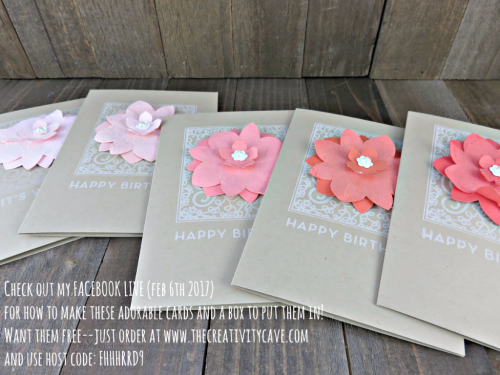Check out my FB Live video on how to make this boxed set of cards as well as how to get the card kit  with everything you need to make them sent directly to you on my blog at www.thecreativitycave.com #stampinup #thecreativitycave #FacebookLive #boxedsetofcards