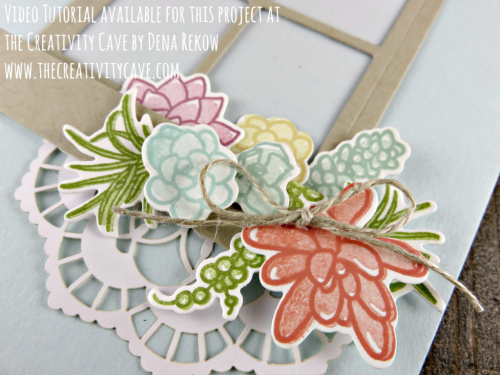 Check out the video tutorial for this beautiful card using Stampin Up's Oh So Succulent and Here for You Stamp Sets combined with the Hearth and Home Framelits on my blog: www.thecreativitycave.com #stampinup #thecreativitycave #ohsosucculent #hereforyou #hearthandhomeframelits