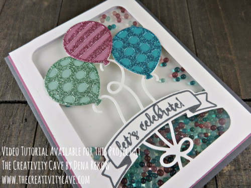 Check out the video tutorial on making this adorable shaker card that is filled with awesome tips--and you'll never guess what the shaker material is!!  Details and video for this card using Stampin Up's Balloon Adventures on my blog: www.thecreativitycave.com #stampinup #thecreativitycave #shakercard #glimmerpaperassortment #saleabrationglimmer