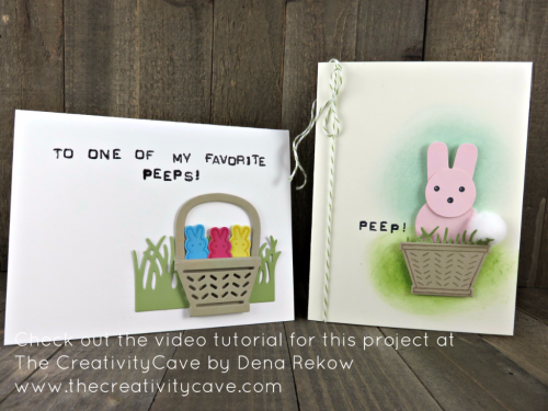 Check out the video tutorial which includes this and several more cards perfect for spring using Stampin Up's Basket Bunch Stamp Set and coordinating Basket Builder Framelits plus some punches to create peeps (!) on my blog: www.thecreativitycave.com #stampinup #basketbunch #spring #easter #peeps #cookiecutterchristmas