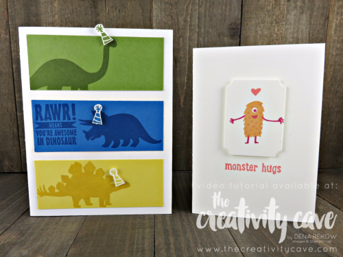 Join me as teach you how easy this card is to create using Stampin Up's No Bones About It and Just Keep Swimming Stamp Set on my blog: www.thecreativitycave.com #thecreativitycave #stampinup #justkeepswimming #nobonesaboutit #kidscards