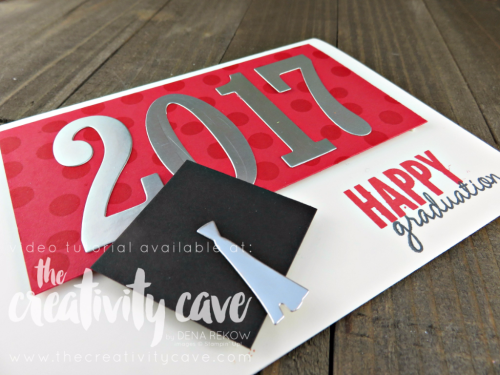 Check out the Video Tutorial on this awesome Graduation card that is so quick and easy to create using Stampin Up's Celebrate Today Stamp set and Balloon Framelits on my blog www.thecreativitycave.com #stampinup #thecreativitycave #graduation #celebratetoday