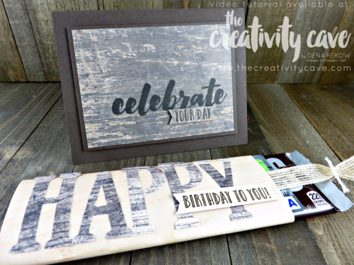 Check out the awesome pop up card video tutorial for this fantastic masculine card using Stampin Up's Happy Celebrations Stamp set and Large Letters Framelits on my blog: www.thecreativitycave.com #stampinup #thecreativitycave #woodtexturesdsp