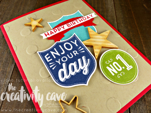 Check out the video tutorial with great tips on creating this awesome project using Stampin Up's Badges and Banners Stamp Set on my blog: www.thecreativitycave.com #stampinup #thecreativitycave #badgesandbanners