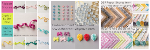 Product Shares available through The Creativity Cave at www.thecreativitycave.com #stampinup #thecreativitycave #ribbonshare #embellishmentshare #dspshare