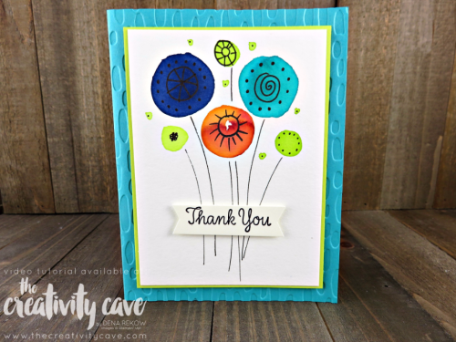 Check out the fun tips for making SUPER simple Watercolor Doodle Flowers on my blog along with several other cards and a video tutorial at www.thecreativitycave.com #stampinup #thecreativitycave #watercolor