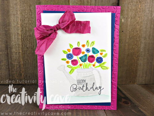 Check out the video tutorial for this gorgeous card using a couple of fun and easy watercolor techniques and Stampin Up's Grown With Love Bundle on my blog at www.thecreativitycave.com #stampinup #thecreativitycave #watercolor #grownwithlovebundle