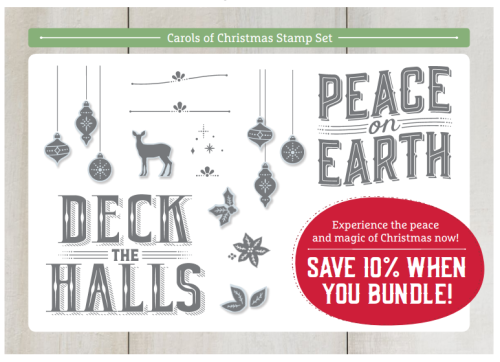This is the Carols of Christmas Stamp Set that is free when you sign up as a demonstrator July 1-31, 2017 through The Creativity Cave www.thecreativitycave.com