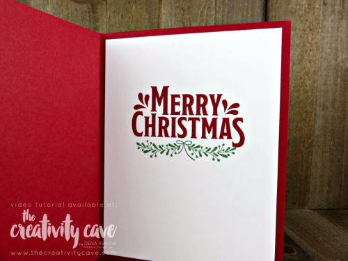 Check out my Clean and Simple Christmas in July card with video tutorial on my blog using Stampin Up's Merry Mistletoe www.thecreativitycave.com #stampinup #christmasinjuly #handmadechristmascards