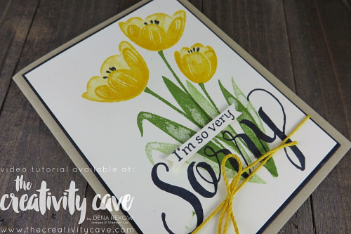 Check out the Video Tutorial for this simple, elegant card using Stampin Up's Tranquil Tulips and Sorry for Everything Stamp Sets on my blog: www.thecreativitycave.com #stampinup #thecreativitycave #tranquiltulipstampset #sorryforeverything