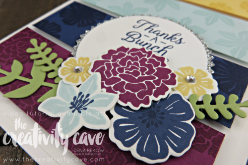 Check out the FB Live video on my blog for this stunning card using Beautiful Bouquet Stamp set and Bouquet Bunch Framelits plus 4 more card on my blog: www.thecreativitycave.com #stampinup #thecreativitycave #beautifulbouquetstampset