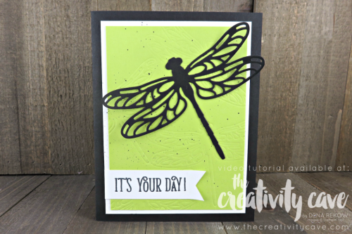 Check out my Friday Quickie Techniques and Tips Video for this fun and easy technique: Embossing With Framelits using Stampin Up's Detailed Dragonfly Thinlits and Happy Birthday Gorgeous Stamp Set on my blog at www.thecreativitycave.com #stampinup #thecreativitycave #dragonflydreams