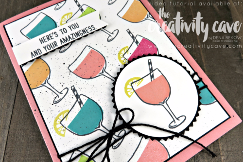 Join me as I teach you some great tips and tricks for making this fun Mixed Drinks Card from Stampin Up in a fun video tutorial on my blog: www.thecreativitycave/com #stampinup #mixeddrinks #thecreativitycave