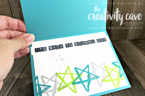 Check out the fun video tutorial with lots of tips and tricks for this simple Back to School Card using Stampin Up's Watercolor Words and Labeler Alphabet--don't miss the sweet inside, either!  It's all on my blog at www.thecreativitycave.com #stampinup #thecreativitycave #quickandeasy