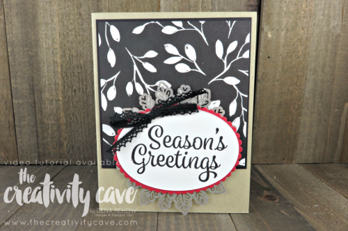 Check out the FB Live video tutorial for this and several other projects on my blog at www.thecreativitycave.com #stampinup #thecreativitycave #everydaylabelpunch #spookycat #halloween #christmas #handmadegreetingcards #bigshot #videotutorial #fun #foilsnowflakes