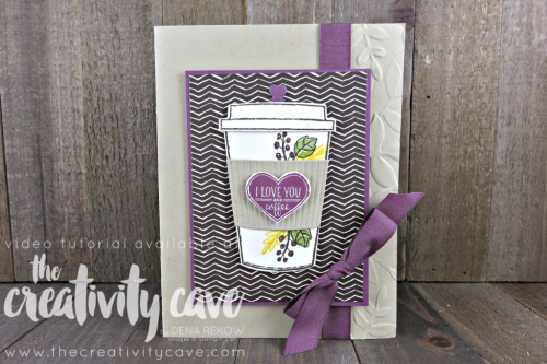 Fun Video tutorial for this adorable fall card using Stampin Up's Merry Cafe Stamp Set on my blog at www.thecreativitycave.com #stampinup #thecreativitycave #MerryCafe #coffeecafe #handmadegreetingcards #cardmaking #fall #coffee #coffeecrafts