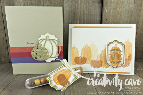 Check out a fantastic video featuring this card plus a treat tube and another simple pumpkin card featuring Stampin Up's Labels to Love and Pick a Pumpkin stamp sets and Everyday Label Punch at www.thecreativitycave.com #stampinup #thecreativitycave #pumpkins #halloween #fall #handmadegreetingcards #cardmaking #paper #create #heatembossing #paperpunches #everydaylabelpunch #bigshot #gold #glimmerpaper #videotutorial #easy