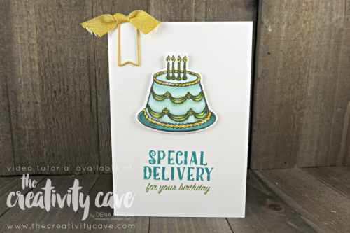 Check out this and 2 other cards on this week's FB Live Replay on my blog featuring Stampin Up's Climbing Orchid, Birthday Delivery, Bunch of Blossoms and Just add Text Stamp Sets as well as our new Stampin Blends Alcohol Based Markers at www.thecreativitycave.com #stampinup #thecreativitycave #stampinupdemo #stampinblends #alcoholmarkers #birthdaydeliverybundle