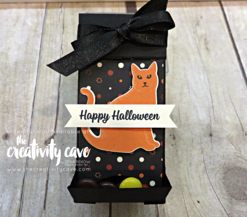 Chocolate Dispenser: Check out the video tutorial showing you step by step how to create this adorable box! www.thecreativitycave.com #stampinup #thecreativitycave #handmade #box #tutorial #videotutorial #spookycat #spookynightdsp #chocolatedispenser