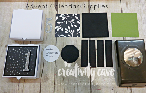 All the pieces you need to create your Mini Pizza Box Advent Calendar--Check out the video tutorial for making an adorable ADVENT Calendar this Holiday Season using Stampin Up's Pizza Boxes, DSP and Large Number Framelits.  SO EASY to create!  www.thecreativitycave.com #stampinup #thecreativitycave #advent #christmas #Merrylittlechristmasdsp #largenumberframelits #Handmadepapercrafts #giftgiving #Silverglimmerpaper