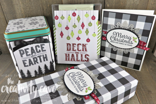 Check out the video tutorial for this and several other projects showing how easy it is to dress up your gifts this holiday season using Stampin Up's Merry Little Christmas Designer Series Paper, Memories and More Card Pack and Carols of Christmas Stamp Sets at www.thecreativitycave.com #stampinup #thecreativitycave #giftgiving #giftwrap #CarolsofChristmas #snowflakesentiments #MerryLittleChristmasDSP #merrylittlechristmasmemoriesandmorecardpack #Foilsnowflakes #handmade #christmas #christmascards