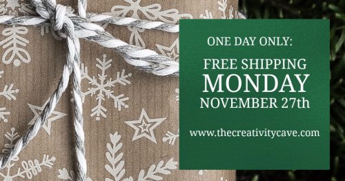 Free Shipping Monday Nov 26th, 2017!!  Order through The Creativity Cave and you'll also receive a free gift if your order is at least $50! YAY! www.thecreativitycave.com #stampinup #thecreativitycave #freeshipping #stampinuporder #viprewards