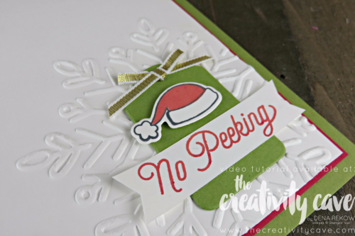 Check out the video tutorial for this quick and easy card featuring Stampin Up's Santa's Suit Stamp set and coordinating framelits on my blog at www.thecreativitycave.com #stampinup #santassuit #winterwonderembossingfolder #quickandeasy #videotutorial #handmade #handmadechristmascards #rubberstamping #bigshot
