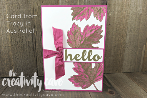 Gorgeous Embossed card mailed to me all the way from Australia from Tracy!  LOVE this beauty! www.thecreativitycave.com #stampinup #thecreativitycave #facebooklive