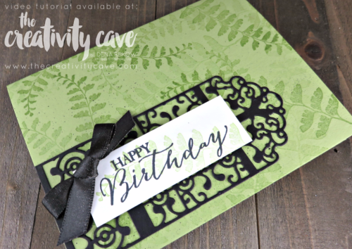 Check out the video tutorial for how to create this gorgeous Birthday Card using Stampin Up's Graveyard Gate Thinlits and Butterfly Basics Stamp set on my blog www.thecreativitycave.com #stampinup #thecreativitycave #birthdaycards #handmadegreetingcards #bigshot #graveyardgate #butterflybasics