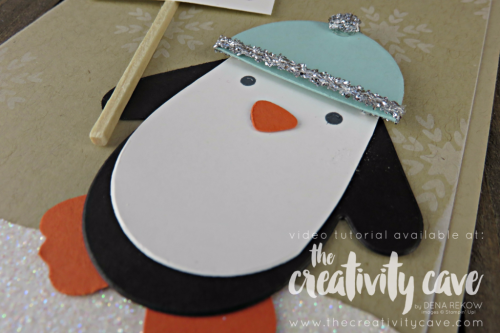 Super fun penguin created from Mittens!!  Seriously!!  Check out the FB Live where I show you how easy they are to create!  www.thecreativitycave.com #stampinup #thecreativitycave #facebooklive #christmas #rubberstamping #bigshot #Smittenmittenbundle #handmadegreetingcards #diy #papercrafts