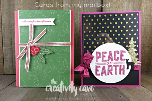 Gorgeous cards in my mailbox this week!  www.thecreativitycave.com #stampinup #christmas #handmadegreetingcards #handmade #rubberstamping #stampinup