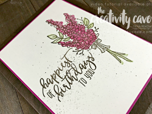 Gorgeous and EASY card to create with Stampin Up's Lots of Lavender set on my blog complete with VIDEO containing trips and tricks!  Get this set free with a $50 purchase during SU's Sale-a-bration sales event through March 31st 2018 Details here: www.thecreativitycave.com #stampinup #thecreativitycave #lotsoflavender #pictureperfectbirthday #crafting #videotutorial #handmadegreetingcarsd #rubberstamping